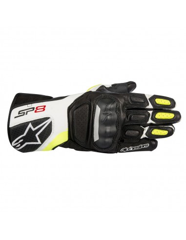 guanti moto alpinestars sp 8 v2 black white yellow fluo vendita online Como