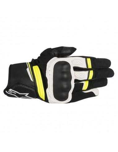 guanti moto alpinestars booster glove black white yellow fluo vendita online Como